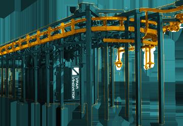 Дробеметные установки проходные подвесного типа